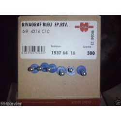 LOT 6 RIVETS POP wurth  BLEU POUR PLAQUE IMMATRICULATION 4X16 VOITURE ( rivet )